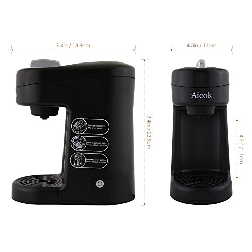 Aicok Travel Size K Cup Coffeemaker Single Serve Brewing System Coffee Machine, Black