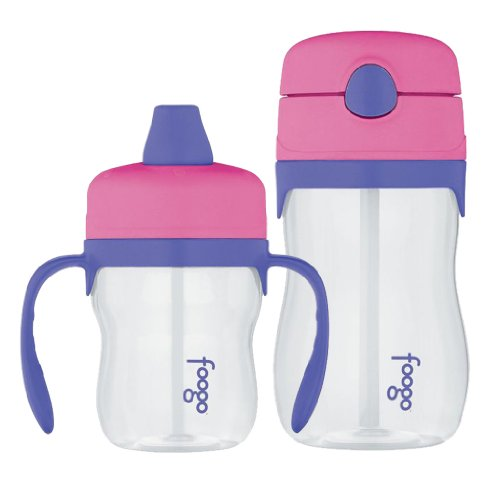Thermos Foogo 8Oz Sippy Cup & 11Oz Straw Bottle, Twin Pack, Pink front-820652