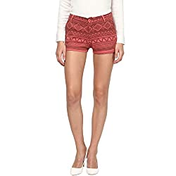 Annapoliss Women's Poly Cotton Shorts (ANWT16_Red_X-Large)