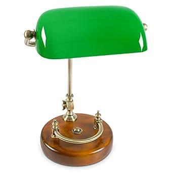 relaxdays bankerlampe gr n mit verziertem holzfu retro. Black Bedroom Furniture Sets. Home Design Ideas