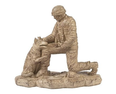 Solid Rock Stoneworks Kneeling Soldier With Dog Stone Statue 18in Tall Desert Sand Brown Color