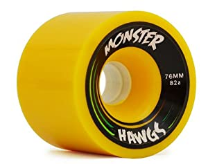 Buy Hawgs Monster 82a 76mm Yellow Skateboard Wheels (Set Of 4) by Hawgs