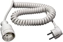 AS Schwabe 70412 - Cable de alimentación en espiral (4 m, H05VV-F 3G1,5, IP20 en interiores), color blanco