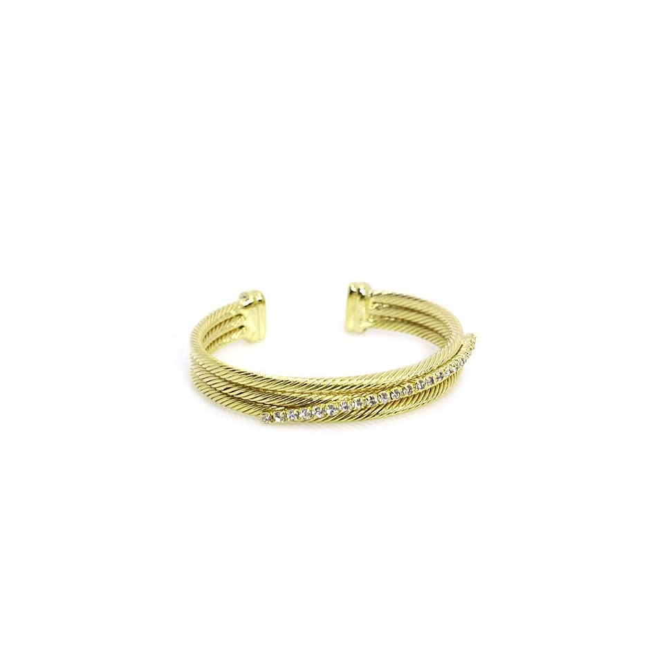 Fashion Cuff Bracelet; Gold Metal with Clear Rhinestones; Adjusts to Fit Most