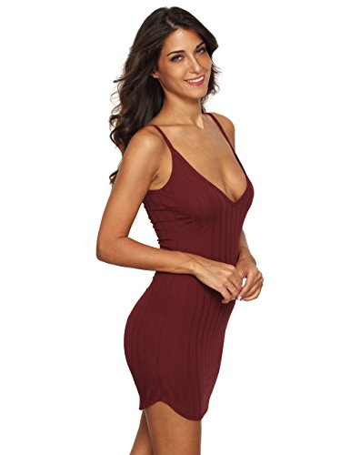 MakeMeChic Women's Sexy Deep V Neck Bodycon Club Night Party Mini Dress Burgundy M (Night Clubs compare prices)