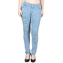 Ajaero Slim Fit Denim Lycra Women Jeans (Ice Blue, 30)