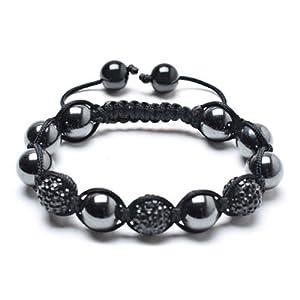 Bling Jewelry Black Shamballa Inspired Bracelet Swarovksi Crystal Beads Hematite 12mm