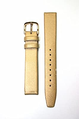 Locman Style 15mm Gold Satin and Genuine Leather Watchband with S/S Buckle