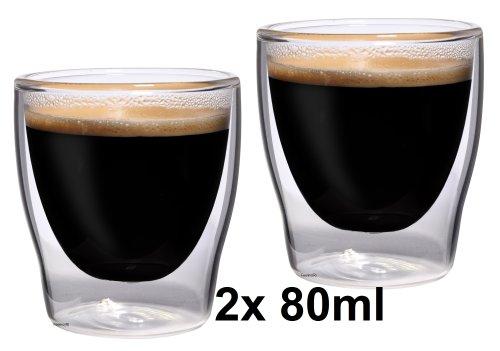 """2x 80ml """"Bloomino"""" doppelwandiges Espressoglas / Espressotasse, edle Thermogläser mit Schwebeeffekt von Feelino"""