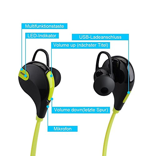 Mpow Swift - Auriculares Estéreo Bluetooth 4.0 In-Ear deportivos para correr y gimnásio, color verde, negro 18.99€