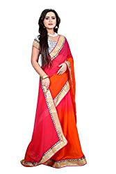 kenil fabrics orange georgette designer partywear women's saree with designer brasso blouse