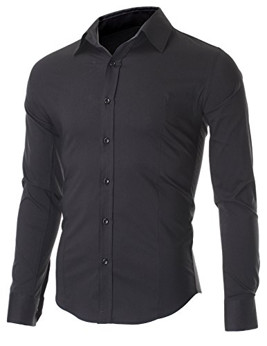 FLATSEVEN Men's Slim Fit Casual Button Down Dress Shirt Long Sleeve (SH600) Black, 2XL