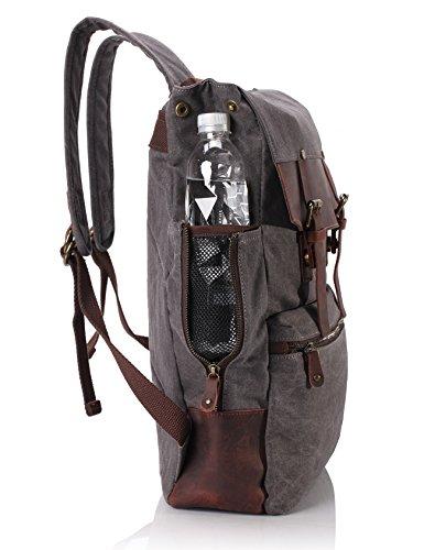 ZEKAR Vintage Waxed Canvas Leather Backpack, Multipurpose Daypacks 3