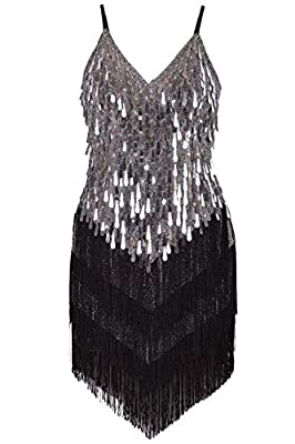 Vijiv Women's 1920s Sequins Sling Tassel Drops Latin Dance Flapper Dress