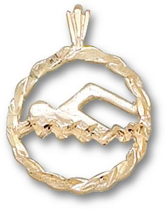 Swimmer in Circle Pendant - 10KT Gold Jewelry