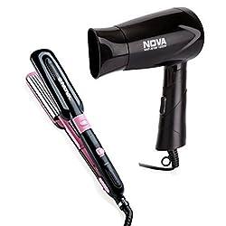 Nova Freshers Pack NHS 888 and NHP 8100 Foldable Hair Dryer (Black)