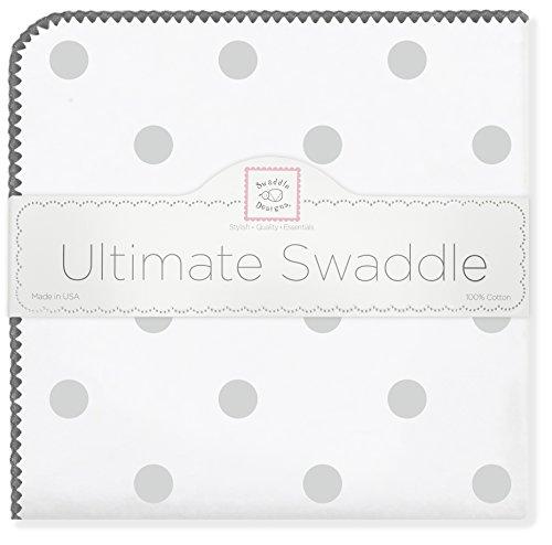 SwaddleDesigns Ultimate Receiving Blanket, Big Dot, Sterling