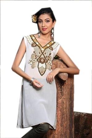 Attractive White Georgette Tunic Top Casual Dress (xs)