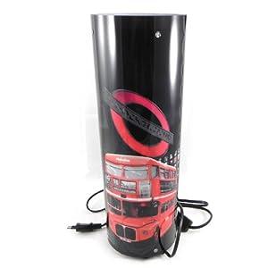 Les Trésors de Lily [I0697] - Lampe cylindre tournante 'So British' noir rouge