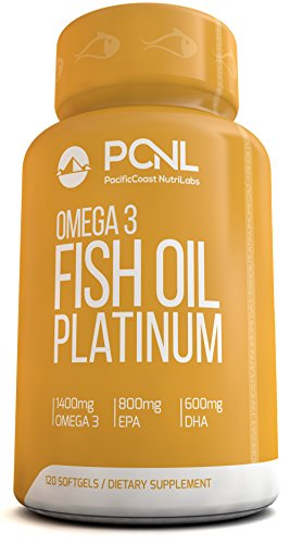 PacificCoast NutriLabs 2000mg Fish Oil, 1,400mg Omega 3, 800mg EPA, 600mg DHA, Free Ebook, 120 Count (Fish Oil High Epa compare prices)