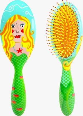 Pylones Designer Girls/woman's Mermaid Fish Hair Brush, Blue & Green Hairbrush