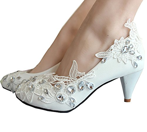 Getmorebeauty Women's Kitten Heel Lace Pearls Glitter Wedding Shoes 5 B(M) US