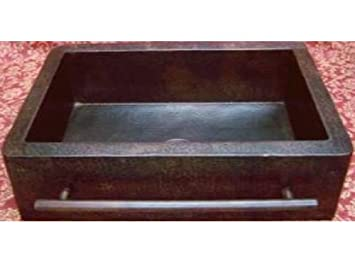 "Farmhouse Apron Copper Sink With Integrated Towelbar - Dark - Large 36""x22""x9"""
