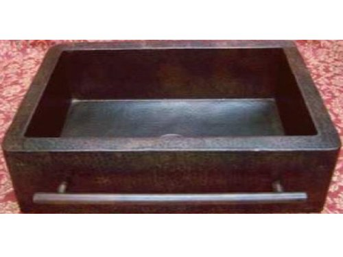 Farmhouse Apron Copper Sink With Integrated Towelbar - Dark - Large 36
