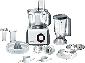 Bosch MCM62020GB Food Processor with Eight Attachments, 3.9 Litre Mixing Bowl, 1000 Watt - Gloss White and Grey