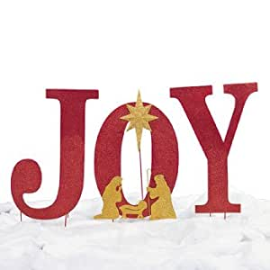 Large sparkly joy with nativity scene outdoor for Large outdoor christmas signs