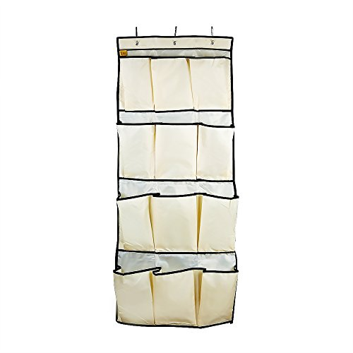 Over the Door Shoe Organizer for Large Shoes by LAGUTE, 12 Big Pockets Hanging Shoe Organizer Oxford Fabric Beige (Big Shoe Organizer compare prices)
