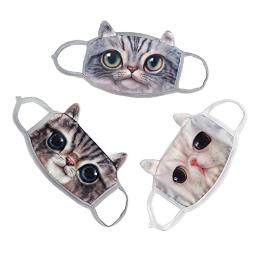 Starsource 3 Pcs Super Cute Unisex 3D Cartoon Cat Face Anti-Dust Warm Mouth Facial Muffle Mask Cover