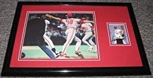 Autographed Todd Worrell Picture - 1985 World Series Denkinger Call Framed 11x17 Display - Autographed MLB Photos