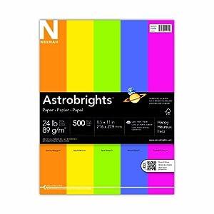 Neenah Astrobrights Premium Color Paper, 24 lb, 8 1/2 x 11 Inch,  500 Sheets, 5-Color Assortment  (21289)