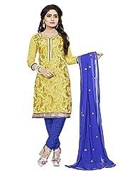 Divya Emporio Unstitched Cotton Silk Salwar Suit Dupatta(DE-009_Yellow)