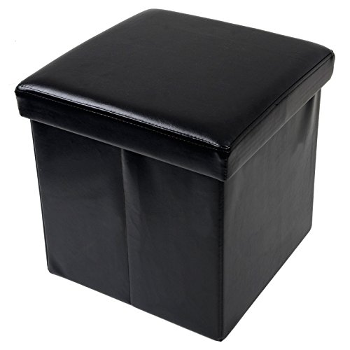 folding-storage-stool-with-lid-black-faux-leather-38cm-cube-pouffe-seat-ottoman