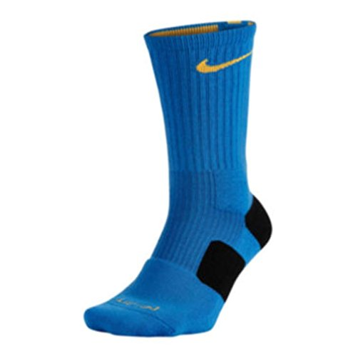 Nike Elite Cushioned Basketball Crew Socks - Small (4-6) - Blue/Yellow - 435