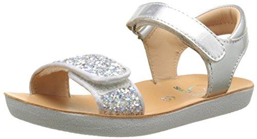 ShoopomGoa Velcro Piping - Sandali da Bambina, colore argento (Silver), taglia 32