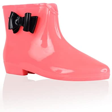 94F Womens Neon Pink Festival Bow Ladies Jelly Low Ankle Wellington Wellies Boots Size 8