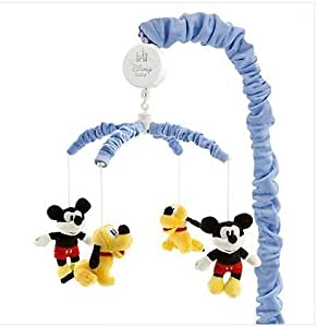 """Disney Mickey Mouse & Pluto Musical Mobile,plush Mickey & Pluto,Brahms """"Lullaby"""" by Disney"""