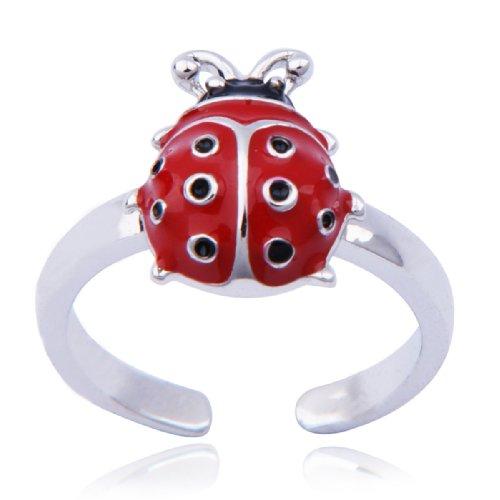 Sterling Silver Ladybug Adjustable Toe Ring