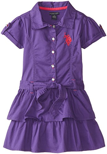 U.S. Polo Assn. Little Girls' Tiered Ruffle Colored Dress With Embroidered Pony Logo, Stark Purple, 4