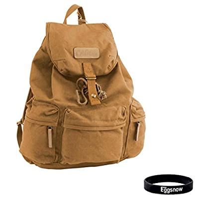 Eggsnow DSLR SLR Camera Bag Waterproof Canvas Travel Computer Backpack (Storage 1 Camera + 2 lens + Computer +Accessories) - Khaki