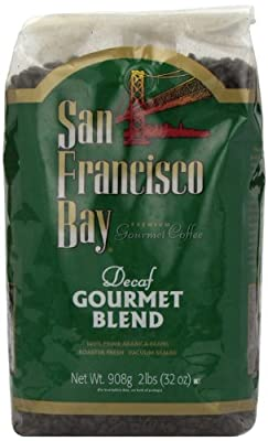 San Francisco Bay Coffee, Gourmet Blend Decaf Water Processed Whole Bean Coffee, 32 Ounce Bag
