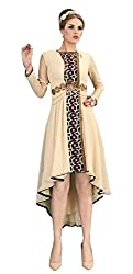 Angroop Womens Georgette Stitched Cut Dress (Beige)