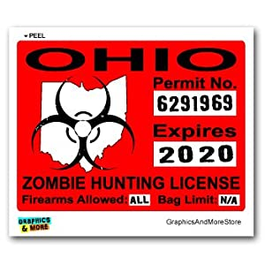 Ohio oh zombie hunting license permit red for Ohio state fishing license