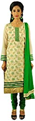 Aarshi Women's Tissue Silk Stitched Salwar Suit (KMD/DS/001/1016_L, Off-White & Green, L)