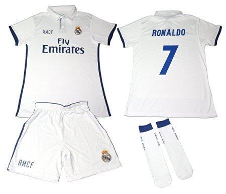 REAL MADRID Completo da calcio per a bambino, replica ufficiali 1a Squadra 2016-2017, Maglia Cristiano Ronaldo- 12 anni