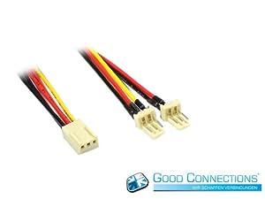 Lüfter-Y-Adapterkabel, 3-pin Bu. an 2 x 3-pin St. (2 Stück)