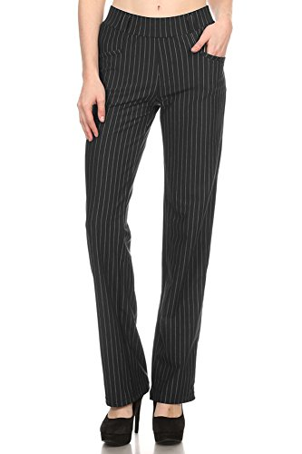 Straight Fit Stretchy Pinstripe Trousers (Large, Black)